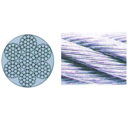 Edelstahl Stahldrahtseil, 6 x 19 IWRC, 25mtr. Ring