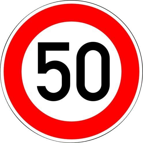 """Verkehrszeichen 274-50 """"Zulässige Höchstgeschwindigkeit 50 km/h"""""""