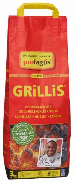 Grillis Premium Buchen Holzkohlebriketts 3 kg