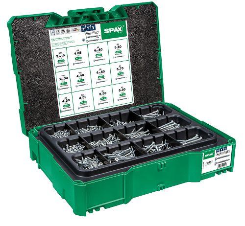 SPAX Box systainer T-Loc I, Schraubenset mit 12 Abmessungen, Senkkopf, T-STAR plus, 4CUT, WIROX